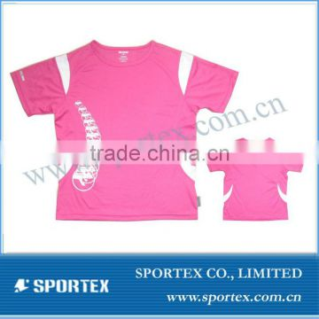young lady100%polyester running t shirt with sublimation printing