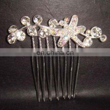 fashion rhinestone flower bridal hair comb