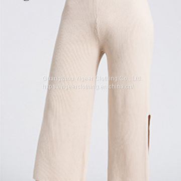 Long Cotton Knitted Pure Color Casual Pants