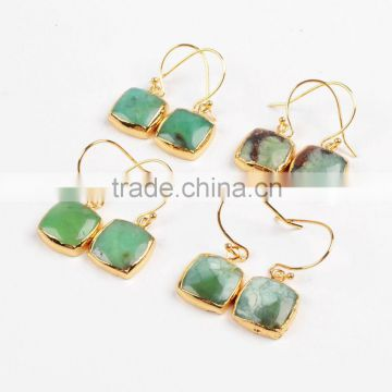Fashion Chrysoprase Jewellery Square beads Gemstone Stud, 18K Gold Plated Australian jade earring Jewelry Suppliers