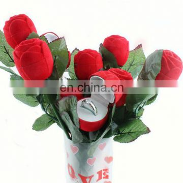 Valentine Rose Flower Shaped Jewelry Ring Gift Packing Box