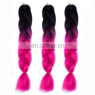 Fashion Color Gradient Individual Braid Wigs Chemical Fiber Big Braids, Length: 60 cm (Black+Magenta)