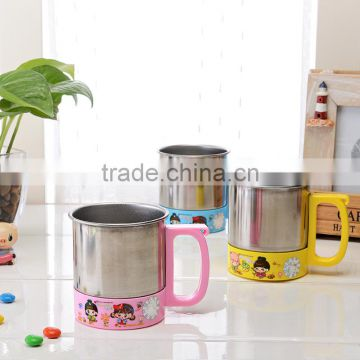 Double Wall PP+Stainless Steel vacuum cup for kids
