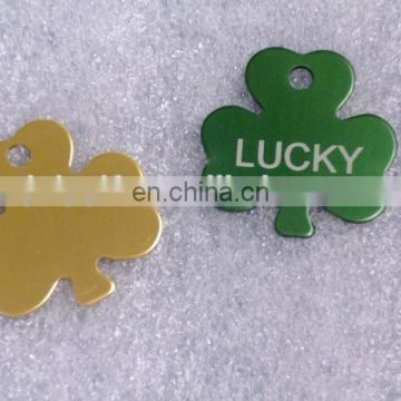Aluminum pet id tags wih leaf design