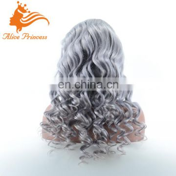 Custom High Quality Smooth Feeling Two Tone Ombre Colored Human Hair Wigs Grey Brazilian Front Lace Wig