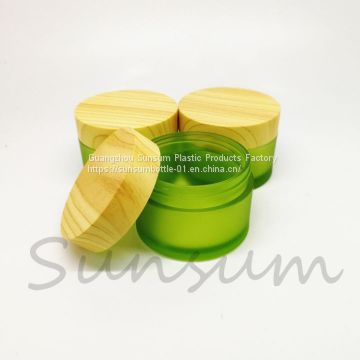 Cosmetic Packaging 50g Frosted Plastic Wooden Lid Cream jar