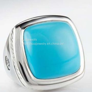 Sterling Silver Jewelry 20mm Turquoise Albion Ring(R-202)