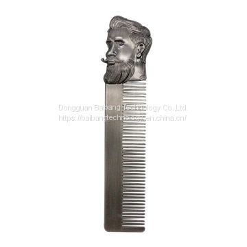 Portable Stainless Steel Oil Head Comb Beard Comb Men's Mustache Comb
