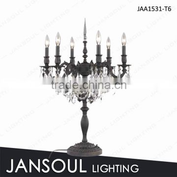 black wrought iron swing arm lantern table lamp with crystal