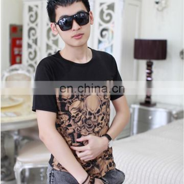 Peijiaxin Fashion Casual Style with Skull Montage Design Men Sports T-shirt