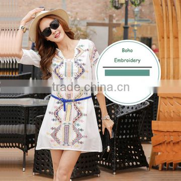 2016 Summer Fashion Women Midi Dresses Ladies Cotton Linen Half Sleeve Ethnic Embroidery Short Frock White Women Dress Model