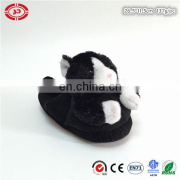 Black cat with ribbon nice indoor kids plush slipper shoe