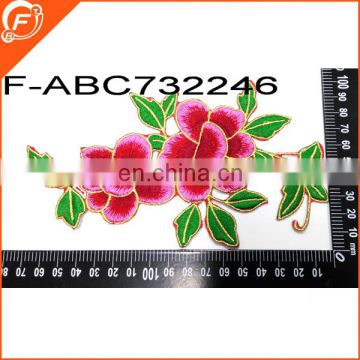 hot popular and colorful big flower embroidery patches patch