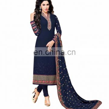 Occasion Party Wear Heavy Embroidery Semi-Sttiched Georgette Dress Material Salwar Kameez 2017 (salwar kameez Suits)