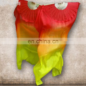 P-9075 New arrival factory customized 1.5m/1.8m 100% silk three colors long belly dance fan veil