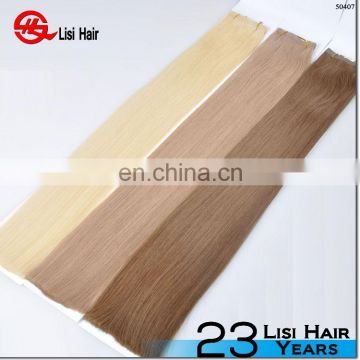 Factory Price European Skin Weft Virgin Hair PU Tape Hair Blonde to White Mixed Color Straight Hair