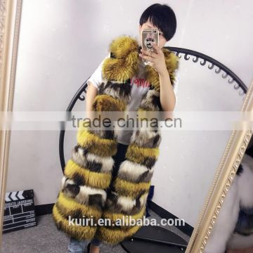 Top Luxury Real Fox Fur Vest For Women Whole Skin Winter Thick Stripe Natural mixed color Fox Fur Waistcoat Plus Size