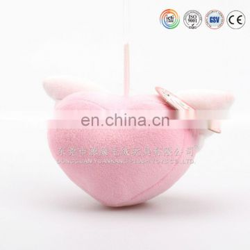 Chinese ICTI factory Peach heart with wings keychain toy stuffed heart toy can pass ASTM/CPSIA/EN71