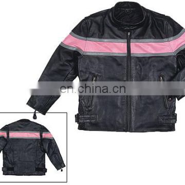 Leather Kids Jackets Pink Blac Style children Coat