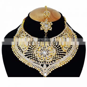 Bolllywood Designer Gold Plated Bollywood Party wear Jewelry Necklace Set White Color