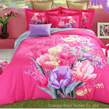 100% Microfiber duvet cover, 70-120GSM custom printed microfiber bed sheets and adult bedding set
