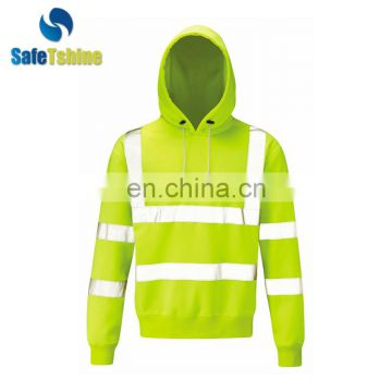 Fluorescent strip material hood design long sleeve design sweatshirt