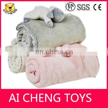 High quality plush blanket with plush toy/ baby blanket plush dog
