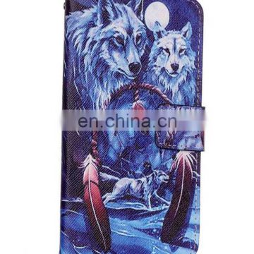 wolves magetic stand pu leather wallet case with card slot for iphone 7 pro