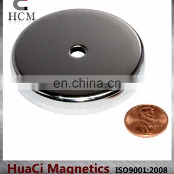 "80 LB Holding Power Ceramic Cup Magnet 2.6"" Magnetic Round Base"