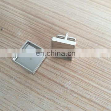 blank square shape metal cufflinks with customized printing logo