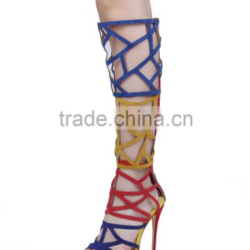 Catwalk New Design Arrivals Over the Knee Boots Made of Artificial Suede, Cut Out High Thigh Sandal Boots for Women