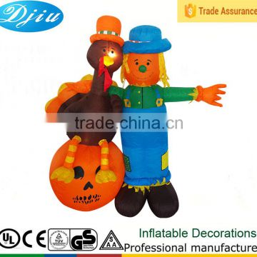 DJ-XT-127 inflatable farmer and turkey Thanksgiving decoration outdoor decoration new design