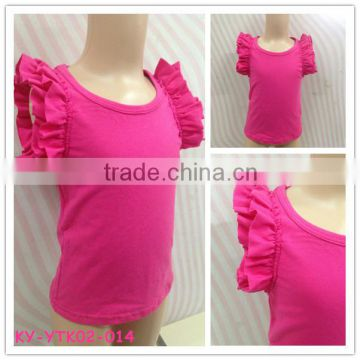 kids clothes 2015 wholesale blank ruffle sleeve t shirt kids summer wear