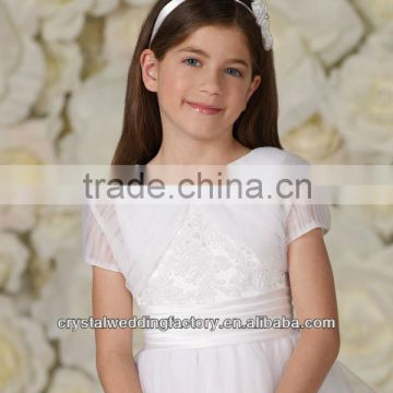 Free shipping beaded custom-made organza casual short sleeve wedding flower girl boleros CWFaJ5558