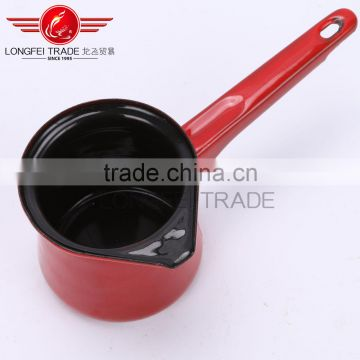 Red color enamel coffee pot/coffee jug with long handle