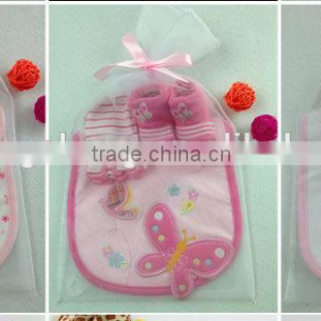 Factory Direct Sales baby hat bib Baby gift set newborn                                                                                                         Supplier's Choice