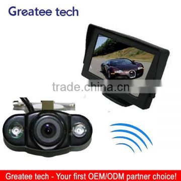 Wireless car rearview camera system with 4.3 inch monitor