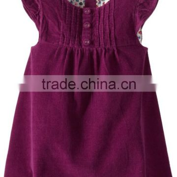 (CD907#)2-10Y OEM Baby Smock Dress Customised Children Corduroy Cap sleeve frocks Winter Spring Dress