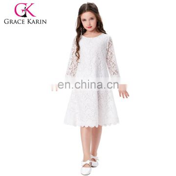 9a81dc24745f Grace Karin Children Kids Girls 3/4 Sleeve Round Neck Flower Girl Dress  White Lace Dress CL010442-1 of Girls dresses from China Suppliers -  158015886