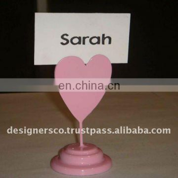 Pink Heart Wedding Favor Place Card Holder