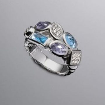 Sterling Silver Jewelry Blue Topaz Confetti Band Ring(R-230)