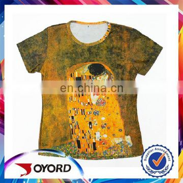 Custom sublimation print polyester T-shirts made in China t shirt