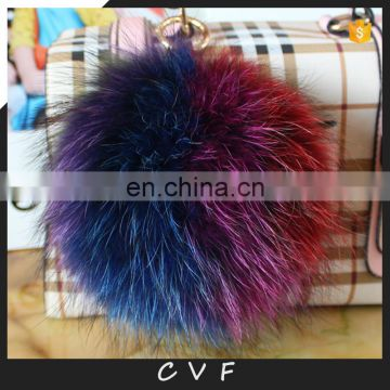 Multicolor raccoon fur pompom bag charm fancy fur ball pendant
