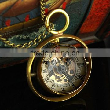 Mens And Women Mechanical Skeleton Pendant Pocket Watch with Chain New WP119