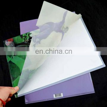 l shape a4 plastic file folder with advertisement