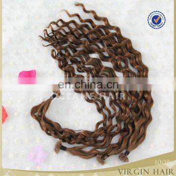 Wholesale chestnut brown color Natural brazilian remy I-tip/U tip/V tip keratin Pre-bonded wavy human hair extensions