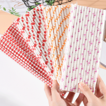 Biodegradable Paper Straws with cute pattern | Bulk Paper Straws for Concessions, Smoothies, Juice, Crafts, Party Supplies, Decorations