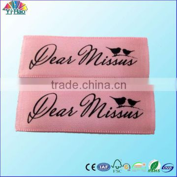 soft silk printed label ,clothing printed label, high quantity print label