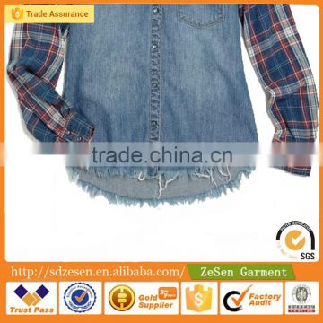 OEM Service Grid Sleeves Blouses Cotton Wholesale Shirt Apparel China Manufacturer For Women