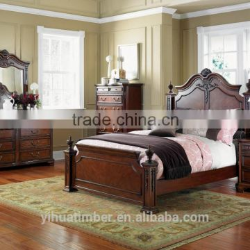 Romanti Wooden Hand Carved European Style Fancy Clical Canopy Bedroom Furniture Set King Bed